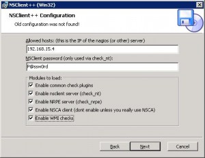 Задаем опции NSClient++