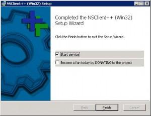 После завершения установки стартуем сервис NSClient++