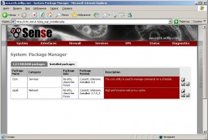 Установленные пакеты в pfSense